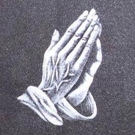 Gravure van biddende handen