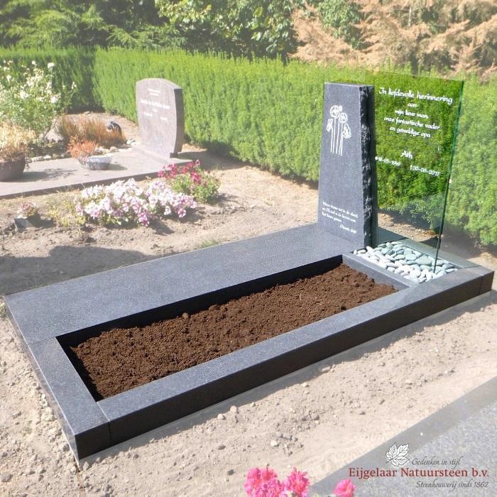 grafsteen leisteen met RVS