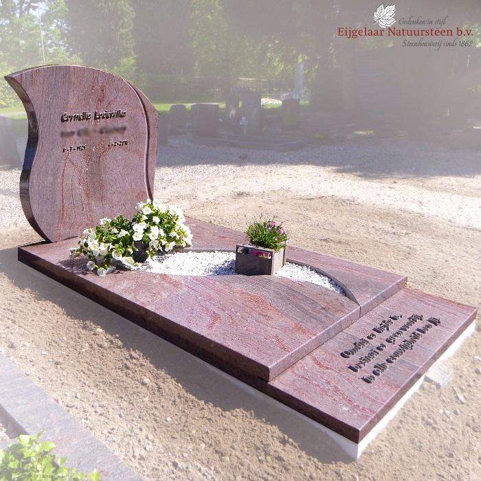 Sierlijke grafsteen jacaranda graniet