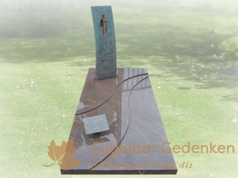 Grafmonument model E166 met bronzen zuil